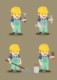 Lycklig industriarbetare- och hjälpmedelvektorillustration Royaltyfria Bilder