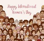 Lycklig internationell dag för kvinna` s - handen drog klottret vänder mot vektor illustrationer