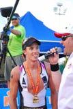 lycklig intervju för idrottsman nen Royaltyfri Bild