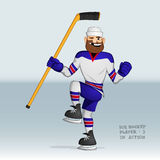 Lycklig ishockeyspelare Royaltyfri Foto