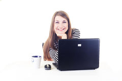 lycklig isolerad arbetsplats för flicka Royaltyfria Foton