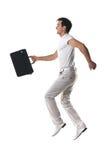 lycklig isolerad hoppa white för grabb Fotografering för Bildbyråer
