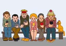 lycklig isolerad man för bakgrund över unga vita kvinnor för folk Sitt på bänken Uppmärksamhet betalar till varandra inte Lyssna  stock illustrationer