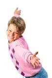 lycklig isolerad white för pojkehörlurar Arkivbilder