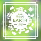 Lycklig jorddag Design för affisch för Eco gräsplanvektor 22 april Royaltyfria Foton