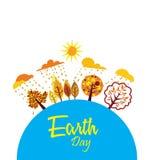 Lycklig jorddag med världen och trädet - vektor stock illustrationer