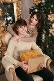 Lycklig jul kopplar ihop förälskat Ung brunettflicka som kramar handen royaltyfri bild