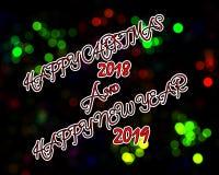Lycklig jul och lyckligt nytt år 2019 vektor illustrationer