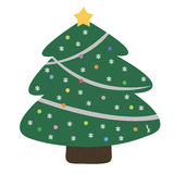 Lycklig jul och sörjer trädet stock illustrationer