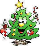 Lycklig julgran Arkivfoto