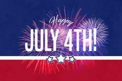 Lycklig Juli 4th hälsning med röd och blå bakgrund stock illustrationer
