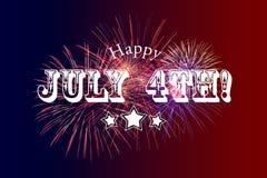 Lycklig Juli 4th hälsning med röd och blå bakgrund royaltyfri illustrationer