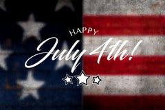 Lycklig Juli 4th hälsning med röd, vit- och blåttbakgrund royaltyfri illustrationer
