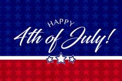 Lycklig Juli 4th hälsning med röd, vit- och blåttbakgrund vektor illustrationer