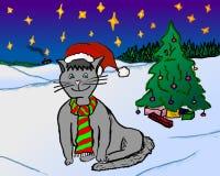 Lycklig julkatt med julgranen arkivbilder