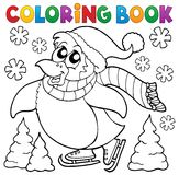 Lycklig åka skridskor pingvin för färgläggningbok Arkivfoton