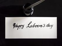 Lycklig kalligrafi för dag för arbete` s och lattering vykort Bästa sikt med calligraph i färgpulverbehållare Arkivbild