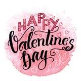 Lycklig kalligrafi för dag för valentin` s dragen hand royaltyfri illustrationer