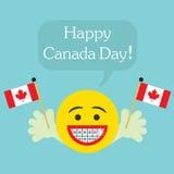Lycklig Kanada dag! smileyframsidasymbol med stora leende- och ortodontitänder royaltyfri illustrationer