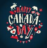 Lycklig Kanada dagillustration med plana symboler och hand dragen bokstäver Royaltyfria Foton