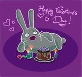 Lycklig kanin för dag för St-valentin` s Arkivfoton