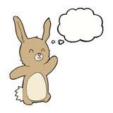 lycklig kanin för tecknad film med tankebubblan Royaltyfria Foton