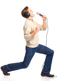 lycklig karaokeundertecknare Royaltyfria Bilder