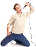 lycklig karaokeundertecknare Royaltyfri Fotografi