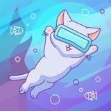 Lycklig katt med vrhörlurar med mikrofon i virtuell verklighethavet royaltyfri illustrationer