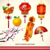 Lycklig kinesisk garneringuppsättning för nytt år Royaltyfri Foto
