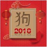 Lycklig kinesisk vektordesign 2018 för nytt år Kinesisk översättning: Hund Arkivfoto