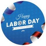 Lycklig klistermärke eller baner för arbets- dag Blå lutningbakgrund Våg flagga Röda och blåa lutningband bakgrund 3d gears white Royaltyfri Fotografi