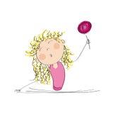 lycklig klubba för flicka stock illustrationer