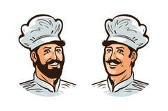 Lycklig kock, kocklogo eller etikett Illustration för designmenyrestaurang eller kafé stock illustrationer