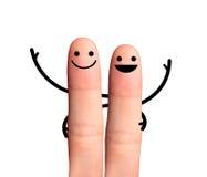 Lycklig kompis som kramar sig, isolerat med snabba banor. arkivfoto