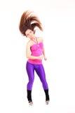 Lycklig konditionkvinnadans Fotografering för Bildbyråer