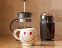 Lycklig kopp kaffe för morgon Arkivbild