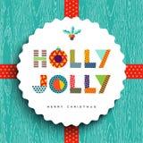 Lycklig kortdesign för glad jul i roliga färger vektor illustrationer