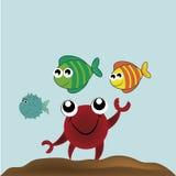 Lycklig krabba och hans vänner Royaltyfri Fotografi