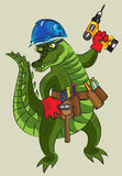 Lycklig krokodil - byggmästare stock illustrationer