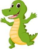 Lycklig krokodiltecknad film royaltyfri illustrationer