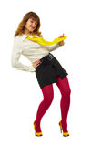 lycklig kulör flicka för ljusa kläder arkivbild