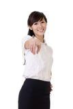 lycklig kvinna för affär Arkivbild