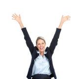 lycklig kvinna för affär Royaltyfria Foton