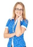 lycklig kvinna för affärsexponeringsglas royaltyfria foton