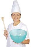 lycklig kvinna för attraktiv kock Royaltyfri Fotografi