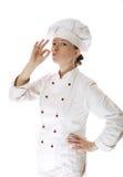 lycklig kvinna för attraktiv kock Royaltyfria Foton