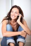 lycklig kvinna för closeup Royaltyfri Fotografi