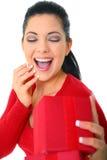 lycklig kvinna för gåva royaltyfria bilder