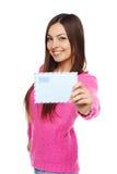 lycklig kvinna för kuvert Fotografering för Bildbyråer